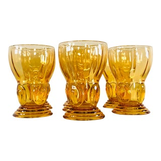1950s Amber Glass Tumblers, Set of 7 For Sale