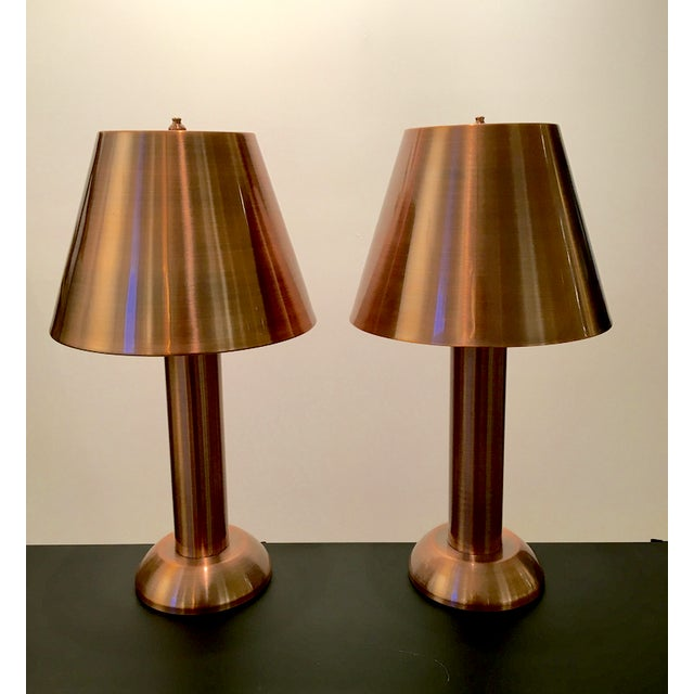 Art Deco 1990s Contemporary Copper Table Lamps - a Pair For Sale - Image 3 of 3