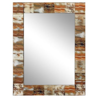 Natural Faux Horn Rectangular Mirror, Medium For Sale