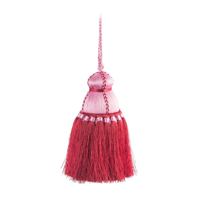 Pyar & Co. Trellis Home Tassel, Pink and Red, Small For Sale - Image 4 of 4