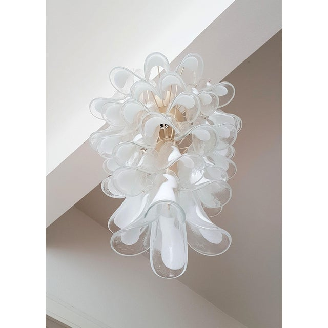 White Mid Century Modern Murano Glass Chandelier, by Mazzega, 1970s- 2 Available For Sale - Image 6 of 10