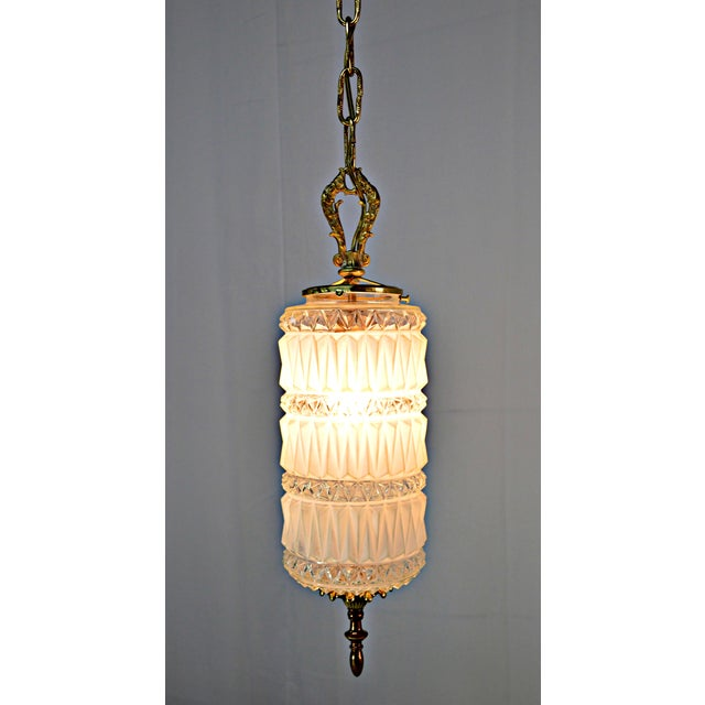 Art Deco Frosted and Clear Glass Pendant - Image 8 of 8