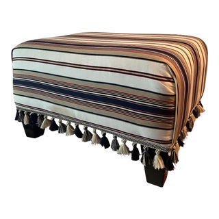 Custom Vintage Upholstered Classic Striped Bench & Tassels Ottoman For Sale