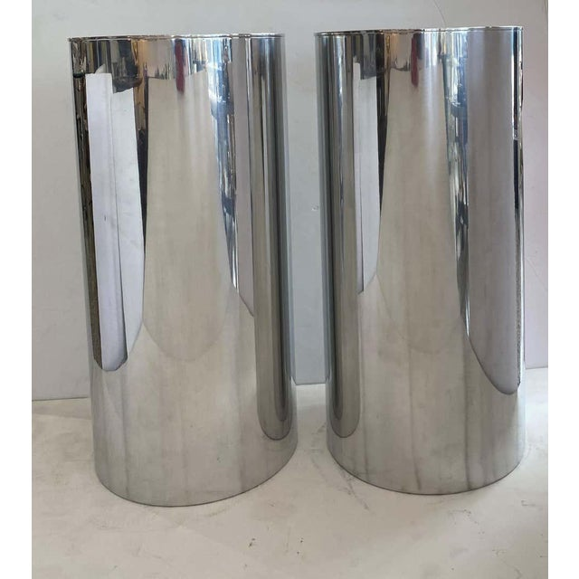 "33"" Drum Pedestals Stainless Steel by Paul Mayen for Habitat - a Pair For Sale - Image 9 of 11"
