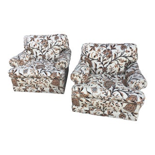 Baker Furniture Crewel Embroidery Club Chairs - A Pair