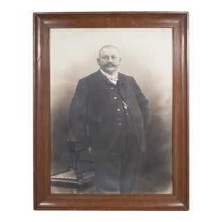 Large Late 19th/Early 20th C. German Gentleman Portrait Photograph C.1880-1920 For Sale