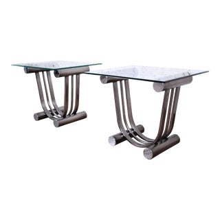 Design Institute America Art Deco Style Chrome and Glass Side Table, Pair For Sale