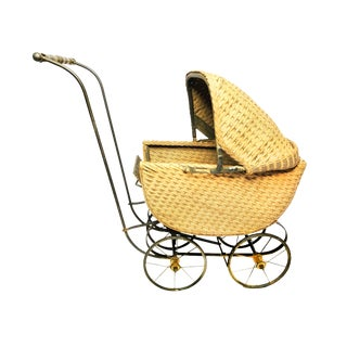 Antique Victorian Wicker and Metal Doll Baby Carriage