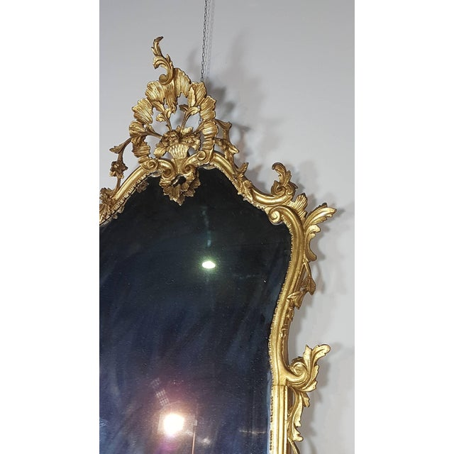 Gold 20th Century Italian Baroque Style Carved Gilded Wood Console Table With Mirror For Sale - Image 8 of 11