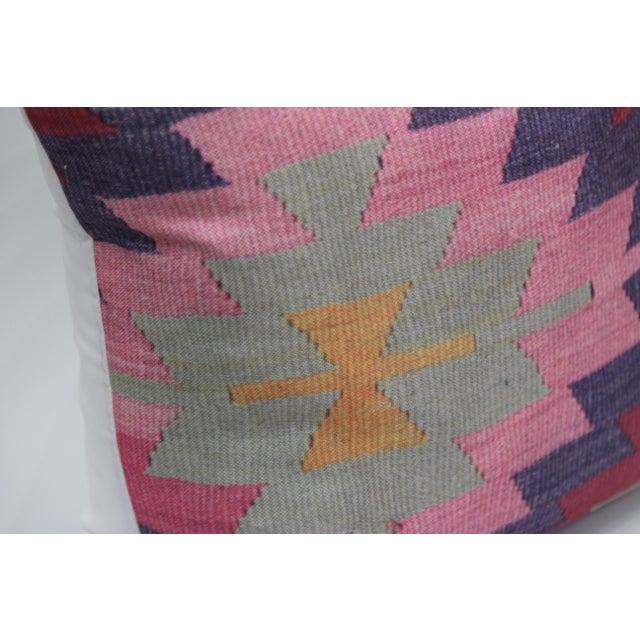 Diamond Pattern Kilim Inspired Print Pillow - 18'' - Image 6 of 8