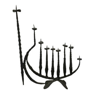 David Palombo Wrought Iron Hand Forged Menorah For Sale