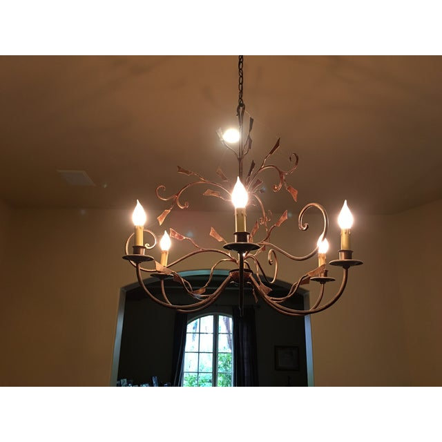 6-Light Bronze Iron Foliage Chandelier - Image 4 of 4