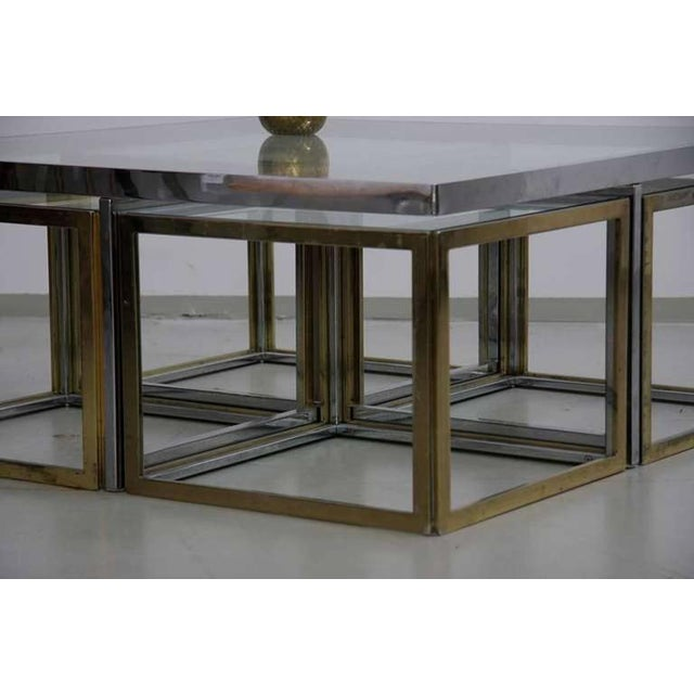 Maison Charles et Fils Maison Charles Brass Coffee Table with Four Nesting Tables For Sale - Image 4 of 6