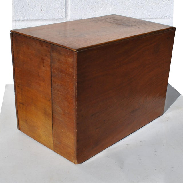 1960s Industrial 2 Drawer Table Top Wooden Card File For Sale In Houston - Image 6 of 7