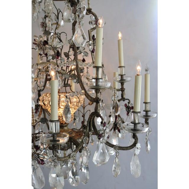 Masion Bagues, 12-Light, Rock Crystal & Amethyst Chandelier For Sale - Image 9 of 11