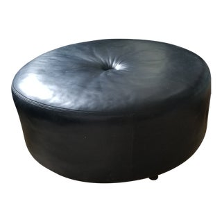 Large Round Black Leather Ottoman or Coffee Table For Sale