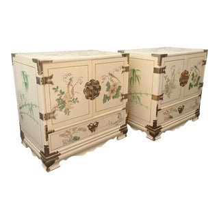 Cream Lacquered Asian Nightstands - A Pair