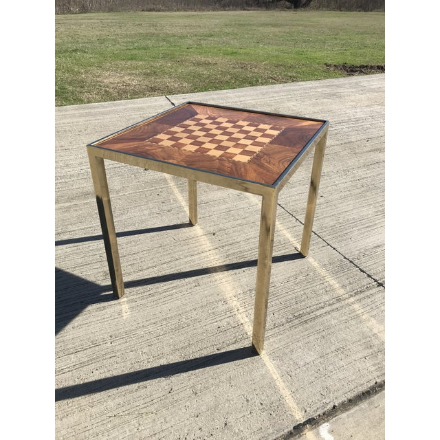 Metal Hollywod Regency Brass and Burl Wood Backgammon Chess Game Table For Sale - Image 7 of 13