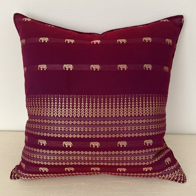 Magenta Thai Silk Pillow With Elephant Motifs For Sale - Image 12 of 12
