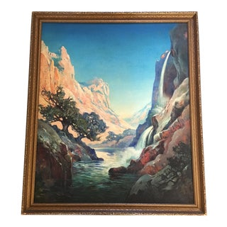 1930's Americana Painting of a Waterfall Through the Gorge For Sale