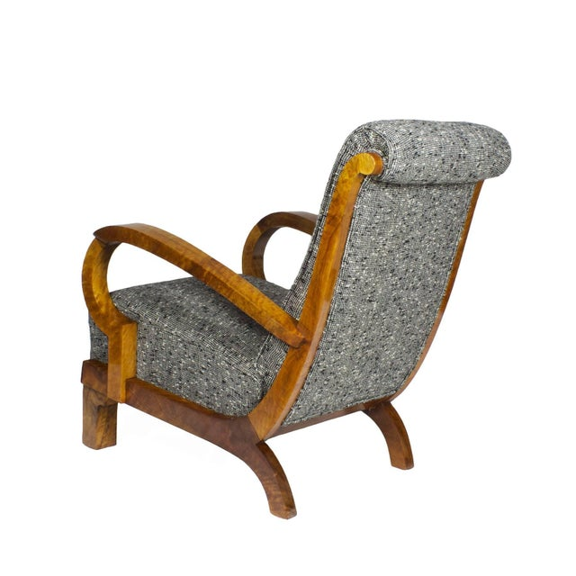 1930s 1930s Pair of Art Deco Armchairs, Walnut, Wool, Italy For Sale - Image 5 of 11