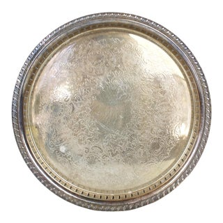 Vintage Round Silver Plated Tray Platter Art Deco Sheridan Silver For Sale