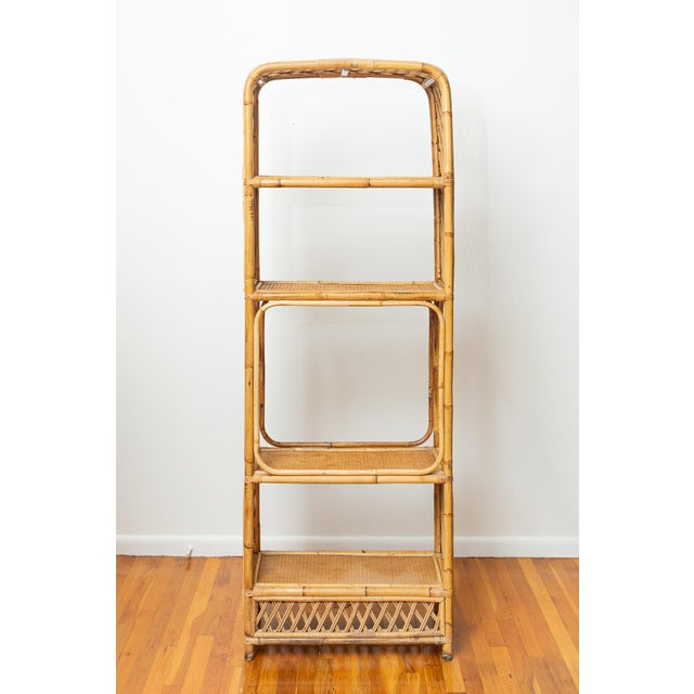 Art Deco 1960s Boho Chic Bamboo and Wicker Rattan Etagere For Sale - Image 3 of 11