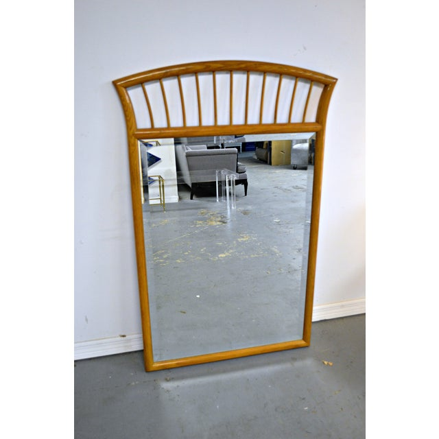 Glass Oak Frame Mirror For Sale - Image 7 of 7