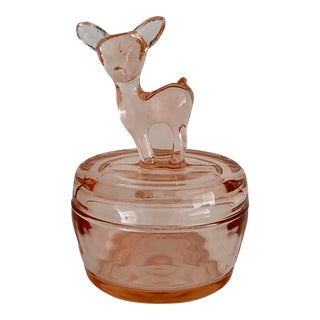 Pink Depression Glass Fawn Covered Powder Dish For Sale