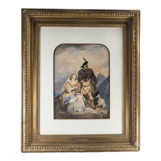 Mid 19th Century Scottish Figurative Watercolor Painting by Nicaise De Keyser, Framed For Sale