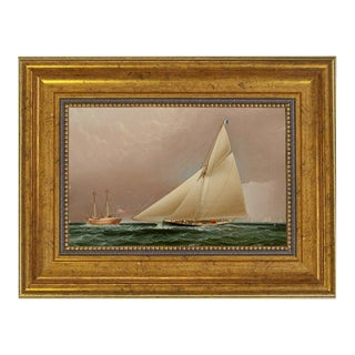 """Rounding Sandy Hook Lightship"" Contemporary Reproduction Print on Canvas, Framed For Sale"