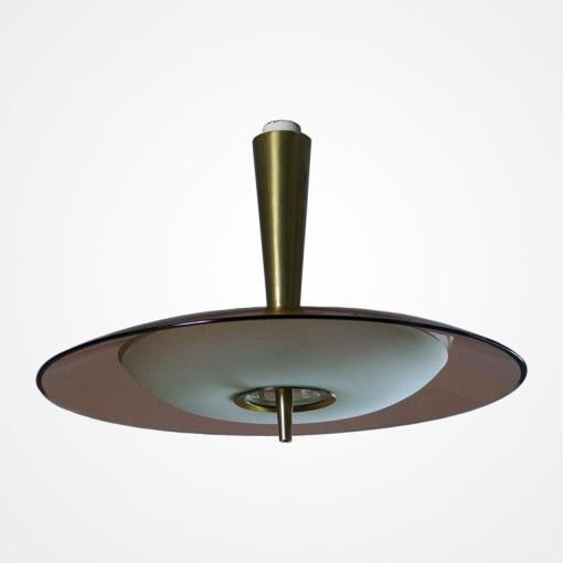 Modern Fontana Arte Chandelier with Rose Glass Model 1462A For Sale - Image 3 of 5