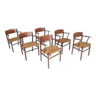 1950s Vintage Børge Mogensen Dining Chairs by Søborg Møbelfabrik in Denmark - Set of 6 For Sale
