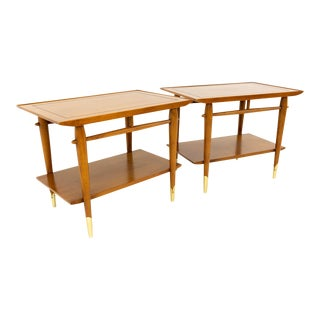 Mid-Century Modern Lane Alta Vista Walnut and Brass End Tables - a Pair For Sale