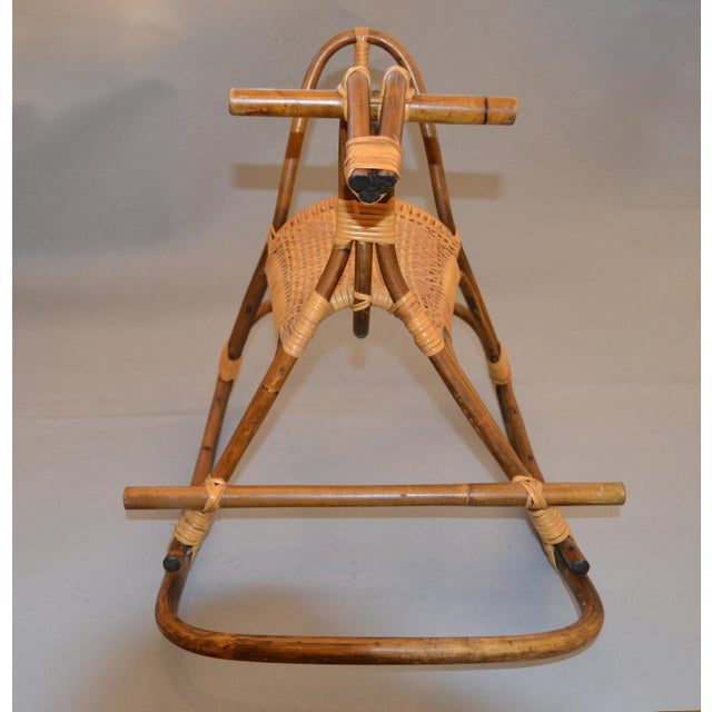 1960s Rattan and Bamboo Rocking Horse Sculpture Inspired by Franco Albini For Sale In Miami - Image 6 of 13