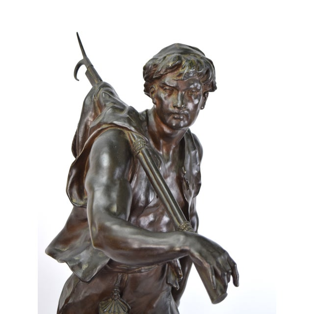 """Emile Louis Picault (French, 1833 - 1915) """"The Whaler"""", bronze sculpture, circa 1890, signed in cast and numbered 8595,..."""