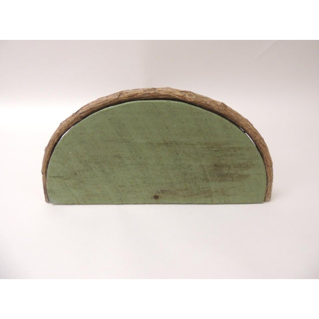 Rustic Willow Painted Green Garden Artisanal Wall Shelf/Bracket For Sale In Miami - Image 6 of 8