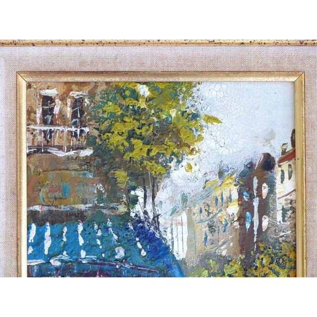 Midcentury Modern Paris Street Scene Oil Paintings- a Pair For Sale - Image 9 of 13