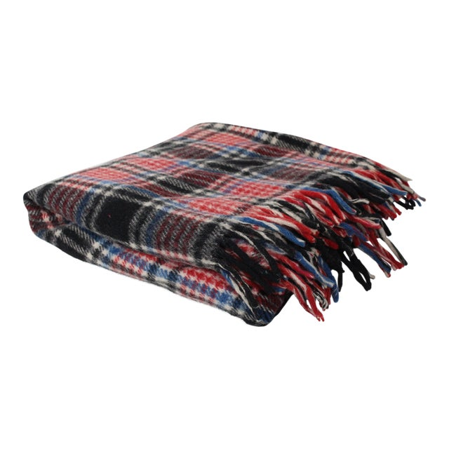 1970s Vintage Fringed Plaid Wool Camp Blanket For Sale