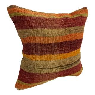 Turkish Striped Design Primitive Handmade Anatolian Kilim Pillow Cover For Sale