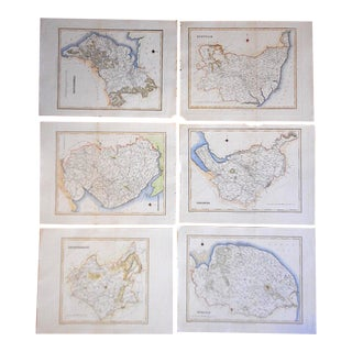 Map Of Counties In England.Set Of 16 Authentic Antique Engraved Maps Counties Of England 1831
