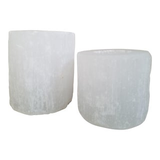 Natural Selenite Candle Holders, 2 Piece