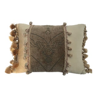 Silk Throw Pillow With French Gold Trim For Sale