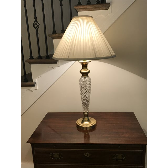 Ethan Allen Crystal Lamp and Shade. A beautiful traditional lighting element!