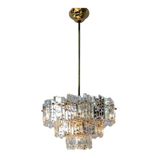 Vintage Kinkeldey Mid-Century Modernist Crystal Chandelier For Sale