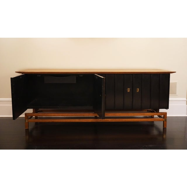 Mid-Century Modern Two-Toned Buffet With Unique Brass Hardware For Sale - Image 4 of 7
