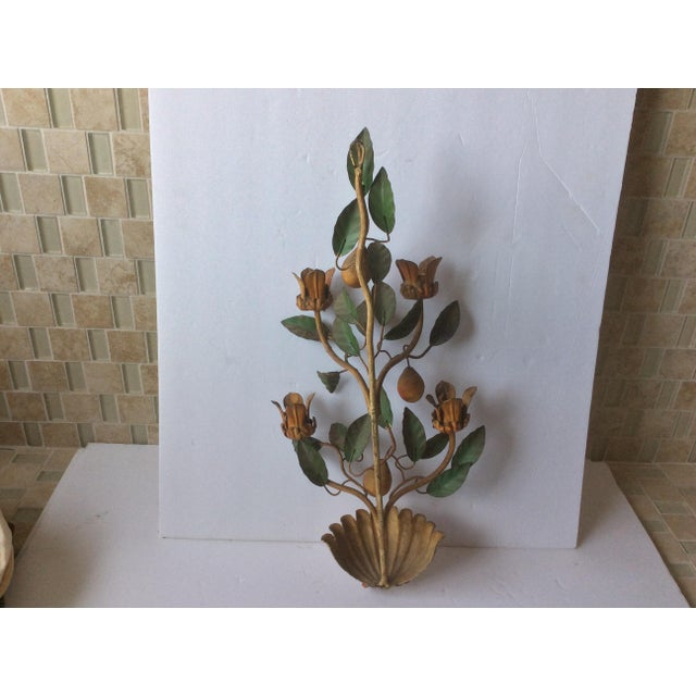 Farmhouse Painted Tole Wall Sconce With Alabaster Pears For Sale - Image 3 of 7