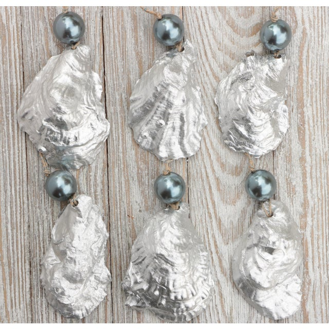 Not Yet Made - Made To Order Silver and Pearl Oyster Shell Christmas Ornaments, Set of 6 For Sale - Image 5 of 6