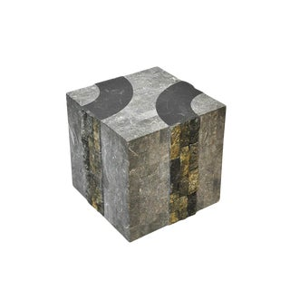 Graphic Tessellated Marble Side Table For Sale