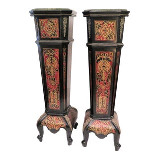 Antique Boulle Pedestals - a Pair